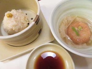 梅の花の湯葉揚げ・豆腐焼売